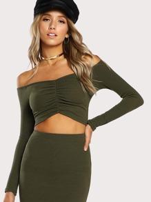 Shirred Front Bardot Neck T-shirt
