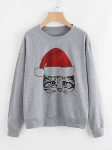 Christmas Print Marled Pullover