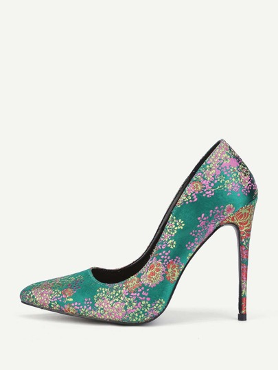 Floral Print Stiletto Pointed Toe Heels