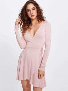 Knot Side Surplice Wrap Dress