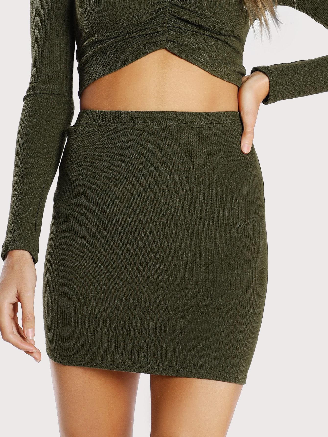 Ribbed Knit Bodycon Skirt skirtmmc171018701