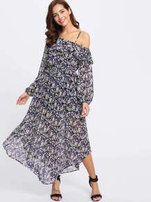 Lantern Sleeve Flounce One Shoulder Daisy Print Dress