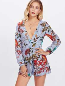 Plunging Mixed Print Romper