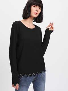 Embroidered Scallop Hem Ribbed T-shirt