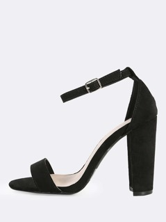 Single Band Ankle Strap Heels BLACK