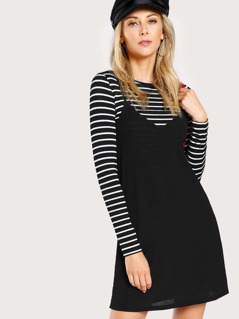 2 In 1 Cami Dress With Striped Tee
