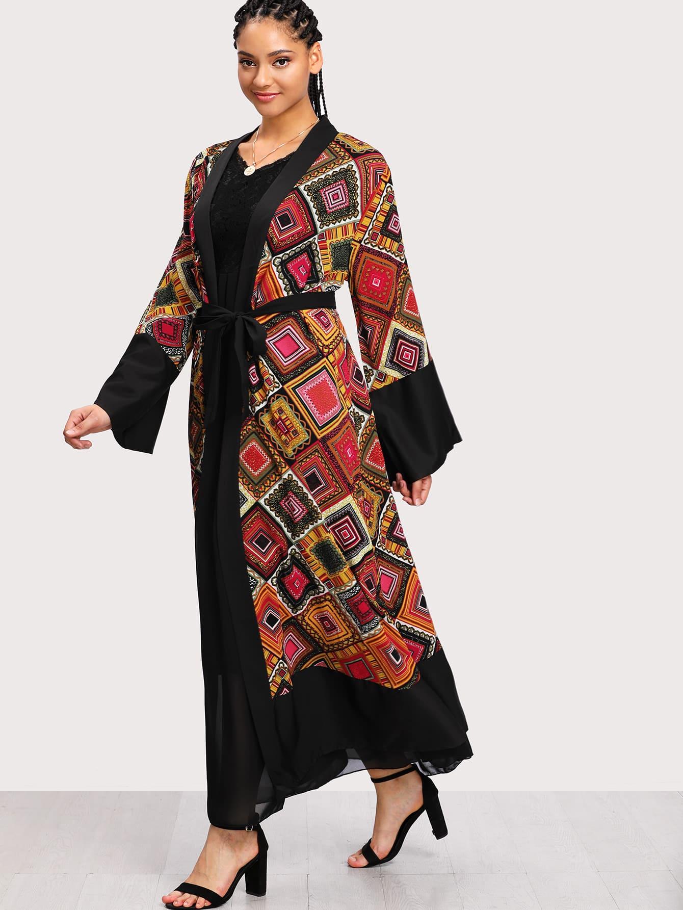 Plus Geo Print Self Tie Waist Kimono цена