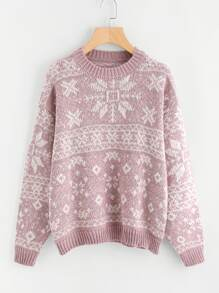 Drop Shoulder Snowflake Jumper