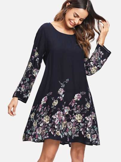 Rose Print Tunic Dress