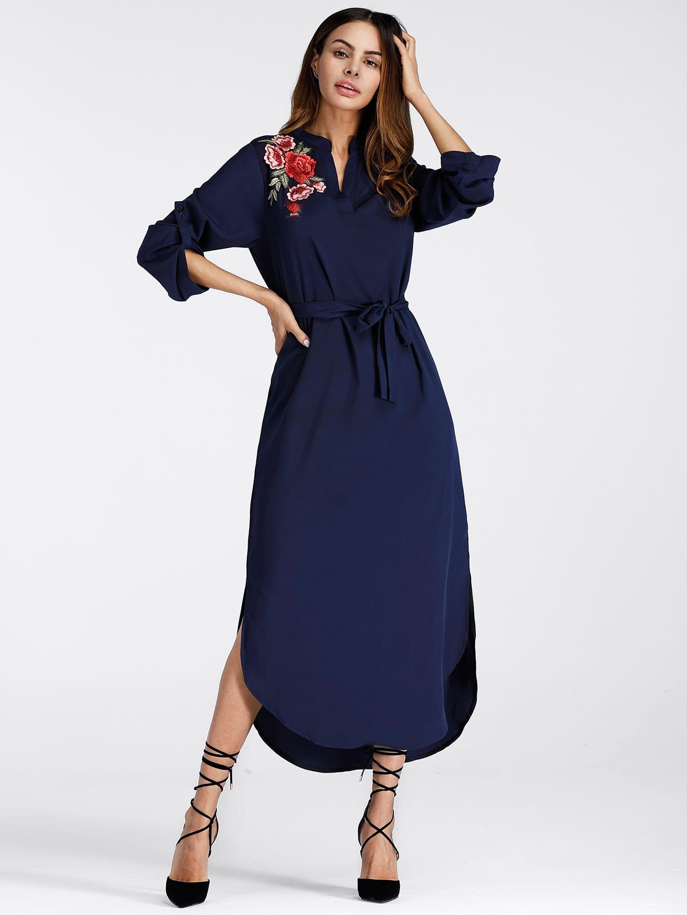 Embroidered Rose Applique Side Split Belt Dress