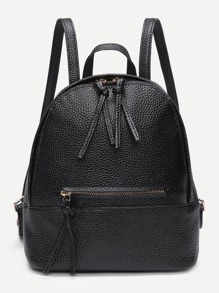 Zipper Front PU Backpack