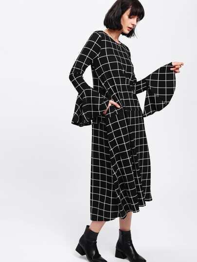 Flounce Sleeve Grid Dip Hem Dress