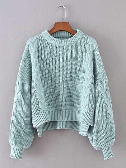 Lantern Sleeve Cable Knit Sweater
