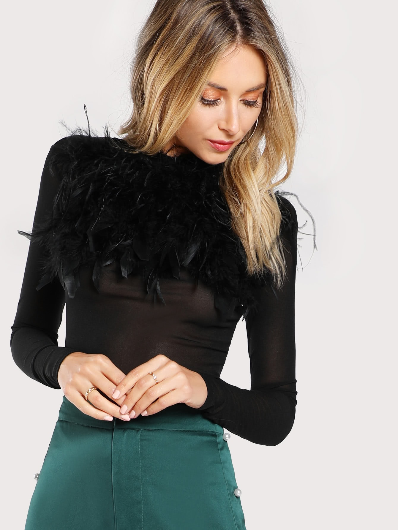 Faux Feather Embellished Solid Tee faux feather shoulder scoop neck tee