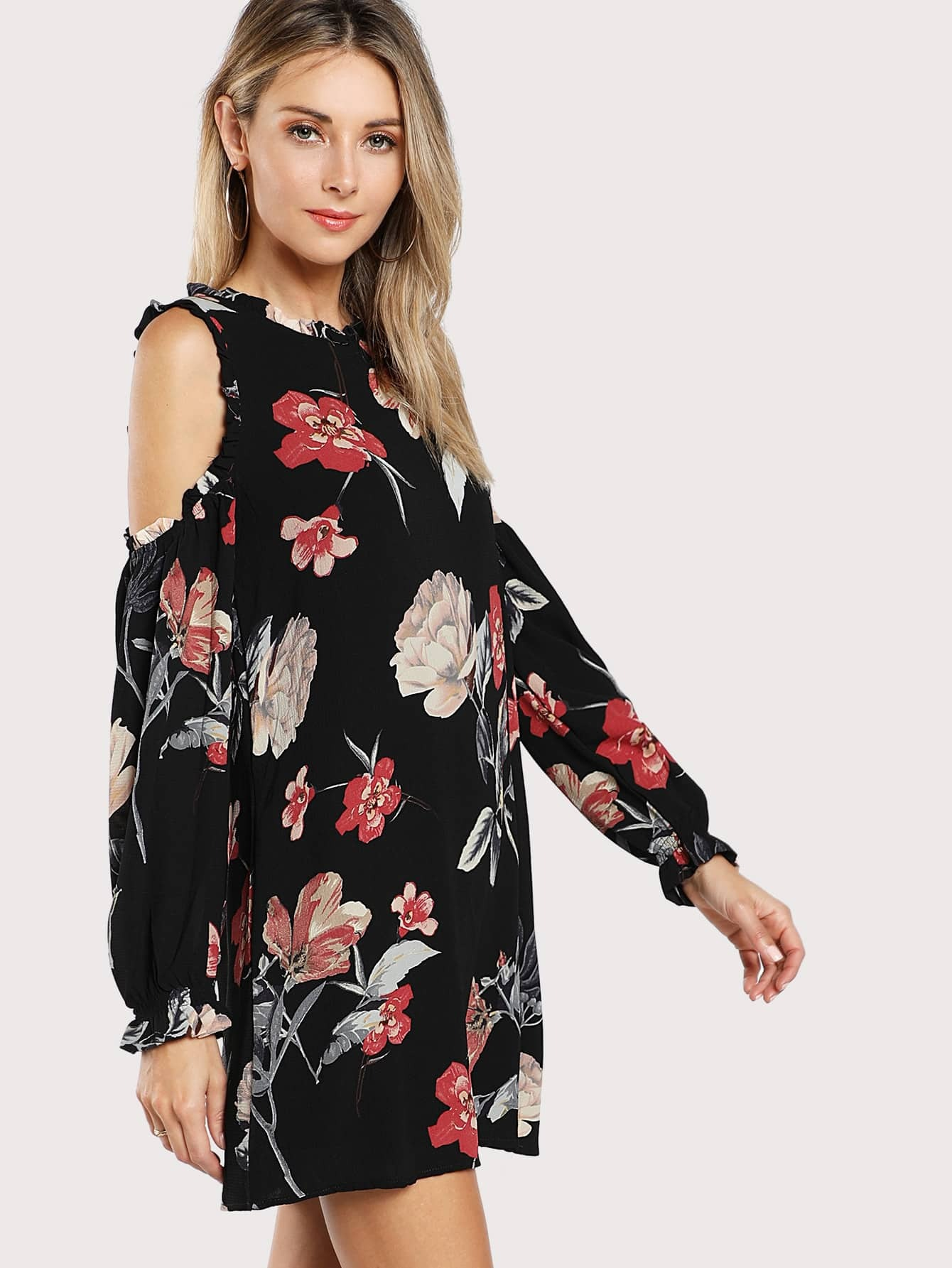 Open Shoulder Frill Detail Floral Dress frill layered pearl detail sweatshirt dress