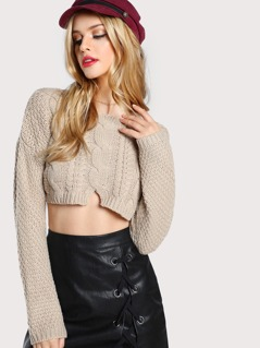 Cable Knit Cropped Sweater Top TAUPE