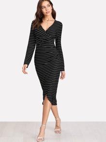 Striped Form Fitting Wrap Dress