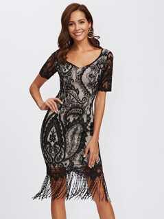 Floral Lace Overlay Fringe Hem Dress