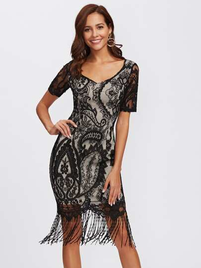 Floral Lace Overlay Fringe Hem Dress