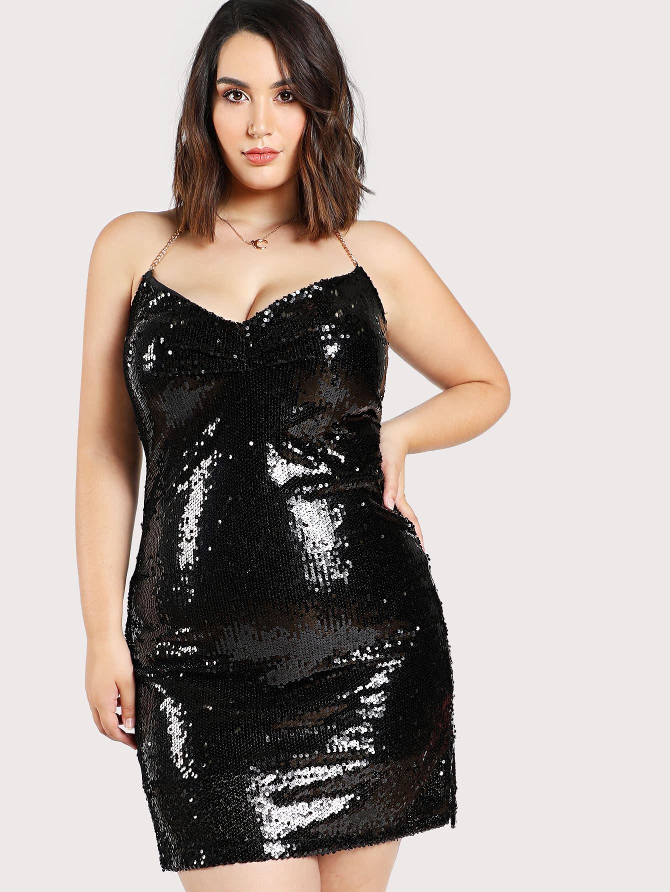 Sequined Halter Chain Dress sequined halter chain dress