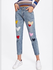 Heart Embroidered Patches Jeans