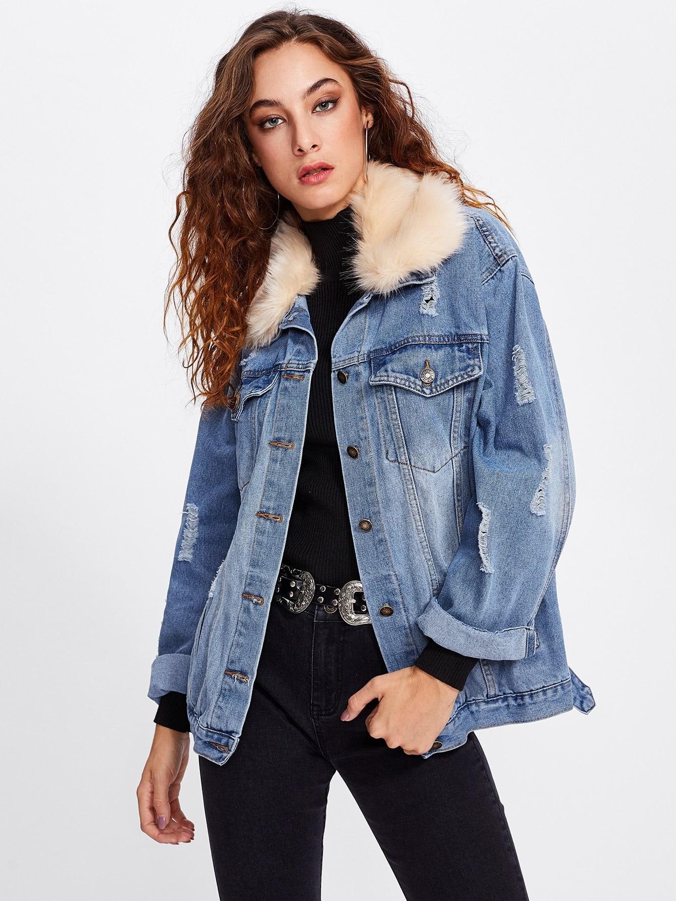 Contrast Faux Fur Collar Ripped Detail Jacket drop shoulder contrast faux fur sleeve sweatshirt