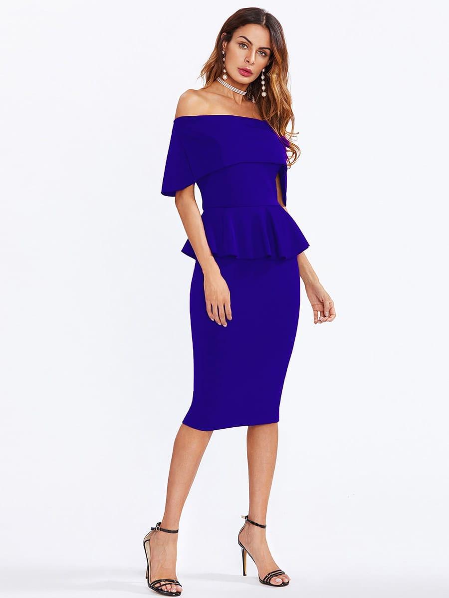 Flounce Layered Neckline Peplum Dress