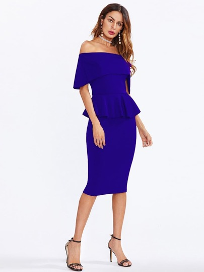 Flounce Layered Neckline Peplum Dress