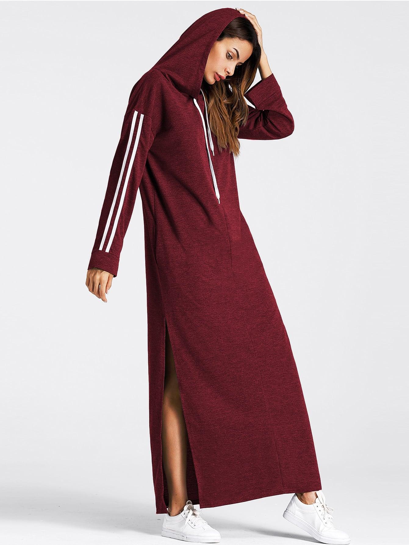 Tape Detail Slit Side Marled Hoodie Dress side slit marled long hoodie