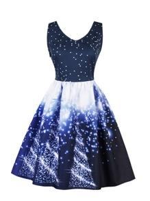 Galaxy Print Circle Dress