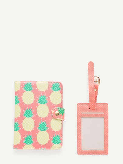 Pineapple Print PU Luggage Tag & Passport Package