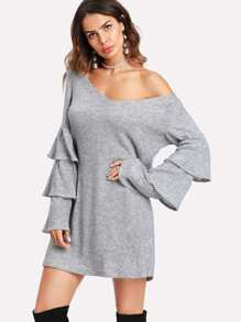 Tiered Ruffle Sleeve Marled Knit Dress