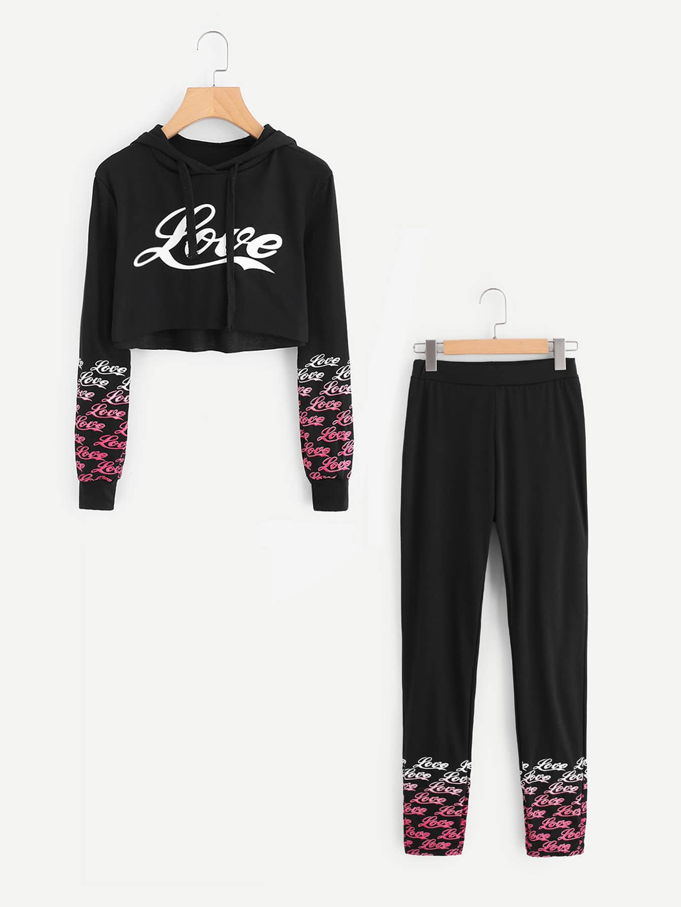 Letter Print Raw Hem Crop Hoodie With Pants
