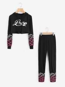 Letter Print Raw Hem Crop Hoodie With Pants