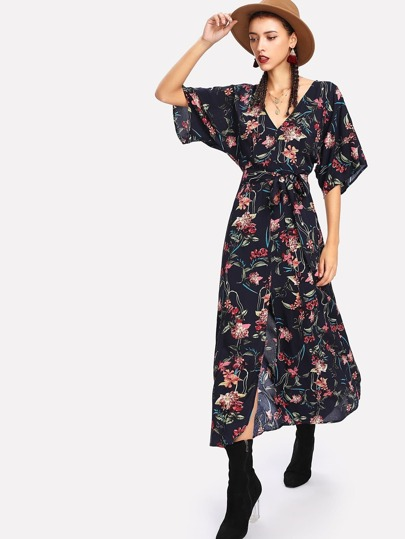 Self Belted Dolman Sleeve Dress