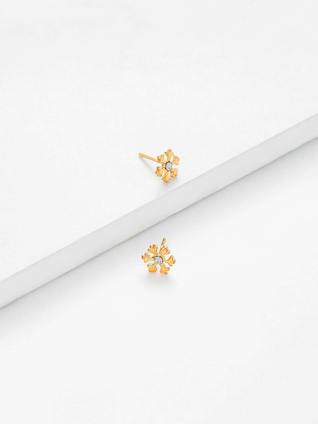 Christmas Rhinestone Snowflake Design Drop Earrings