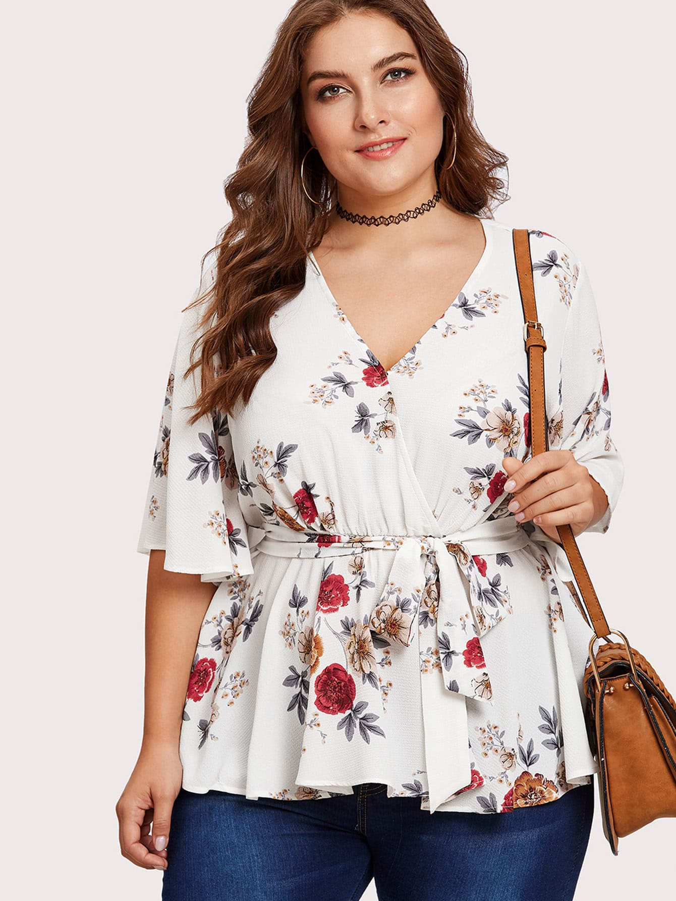 Flutter Sleeve Surplice Wrap Peplum Top tiered flutter sleeve top