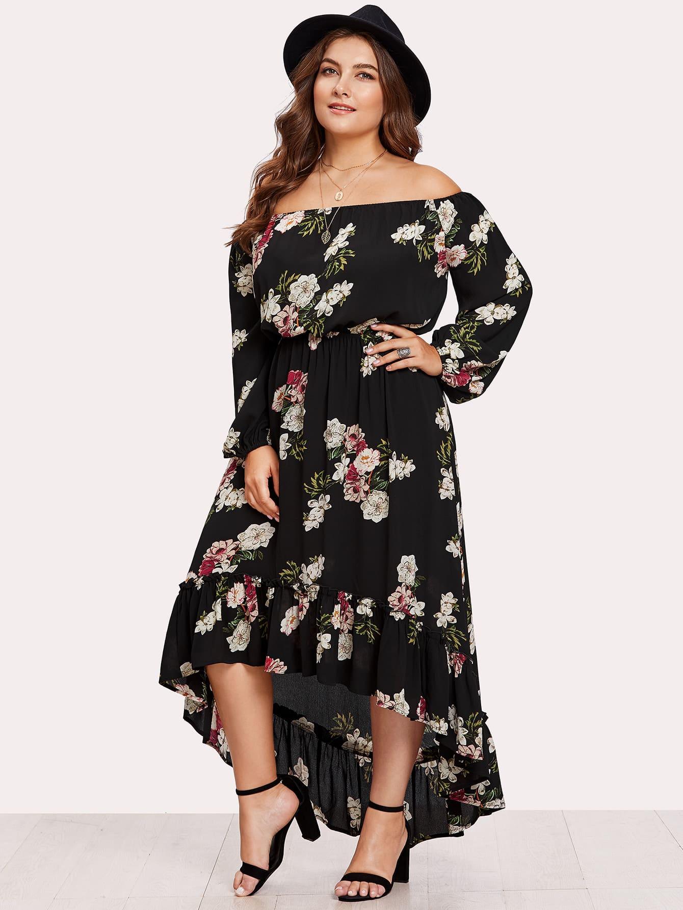 Plus Elasticized Waist Flounce Dip Hem Bardot Dress floral flounce bardot dress