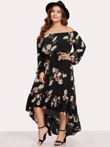 Elasticized Waist Flounce Dip Hem Bardot Dress