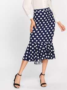 Polka Dot Fishtail Skirt