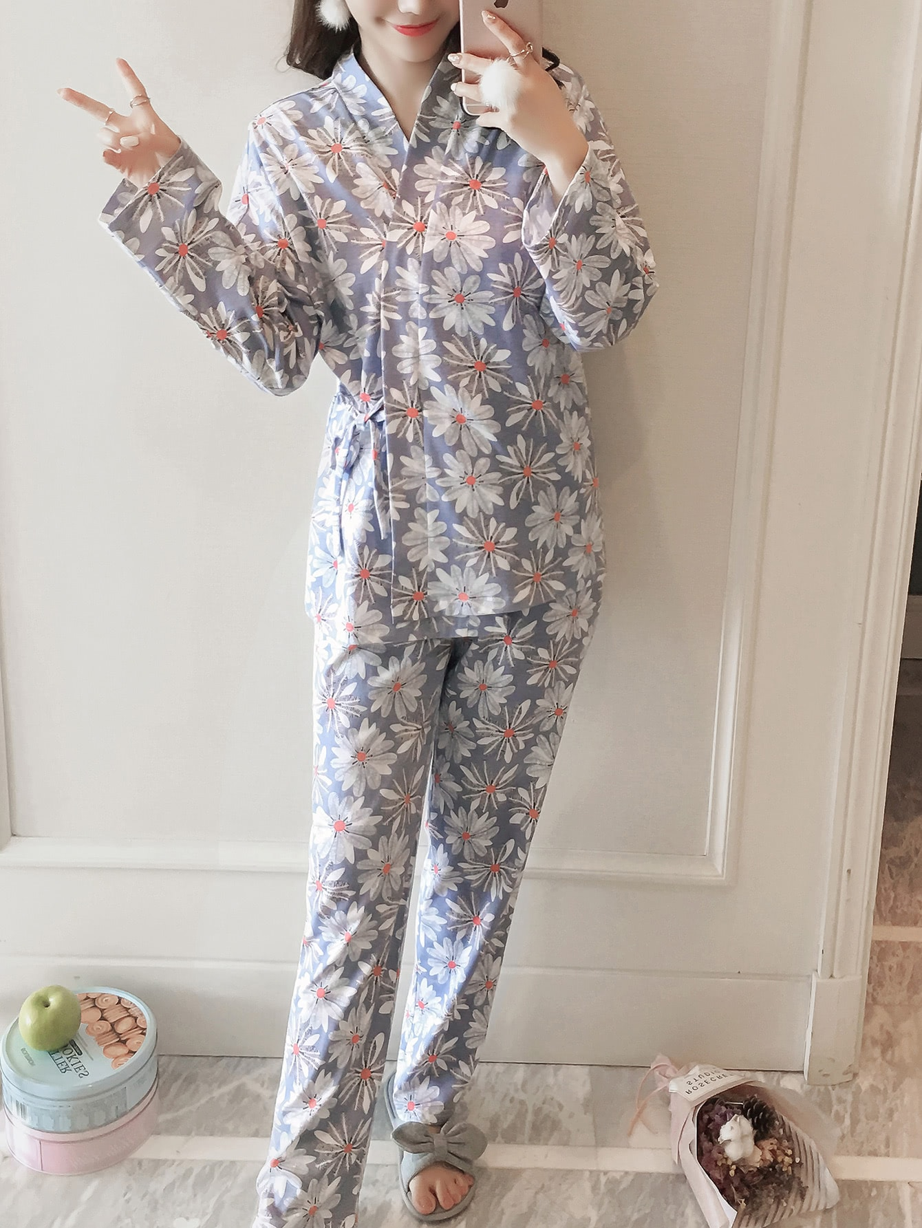 Daisy Print Wrap Top & Pants Pj Set