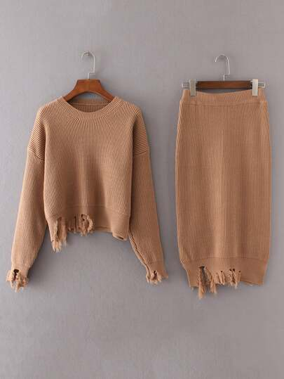 Ripped Trim Rib Knit Sweater With Skirt