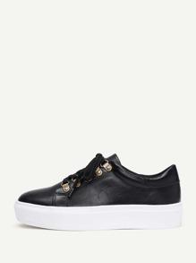 Модные кожаные кроссовки на платформе со шнуровкой