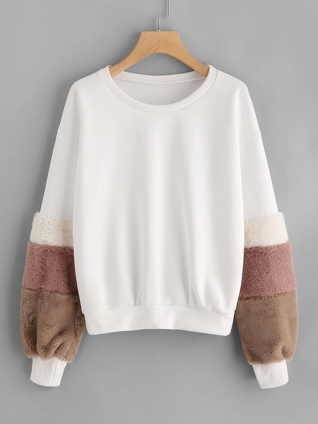 Contrast Faux Fur Sleeve Sweatshirt drop shoulder contrast faux fur sleeve sweatshirt