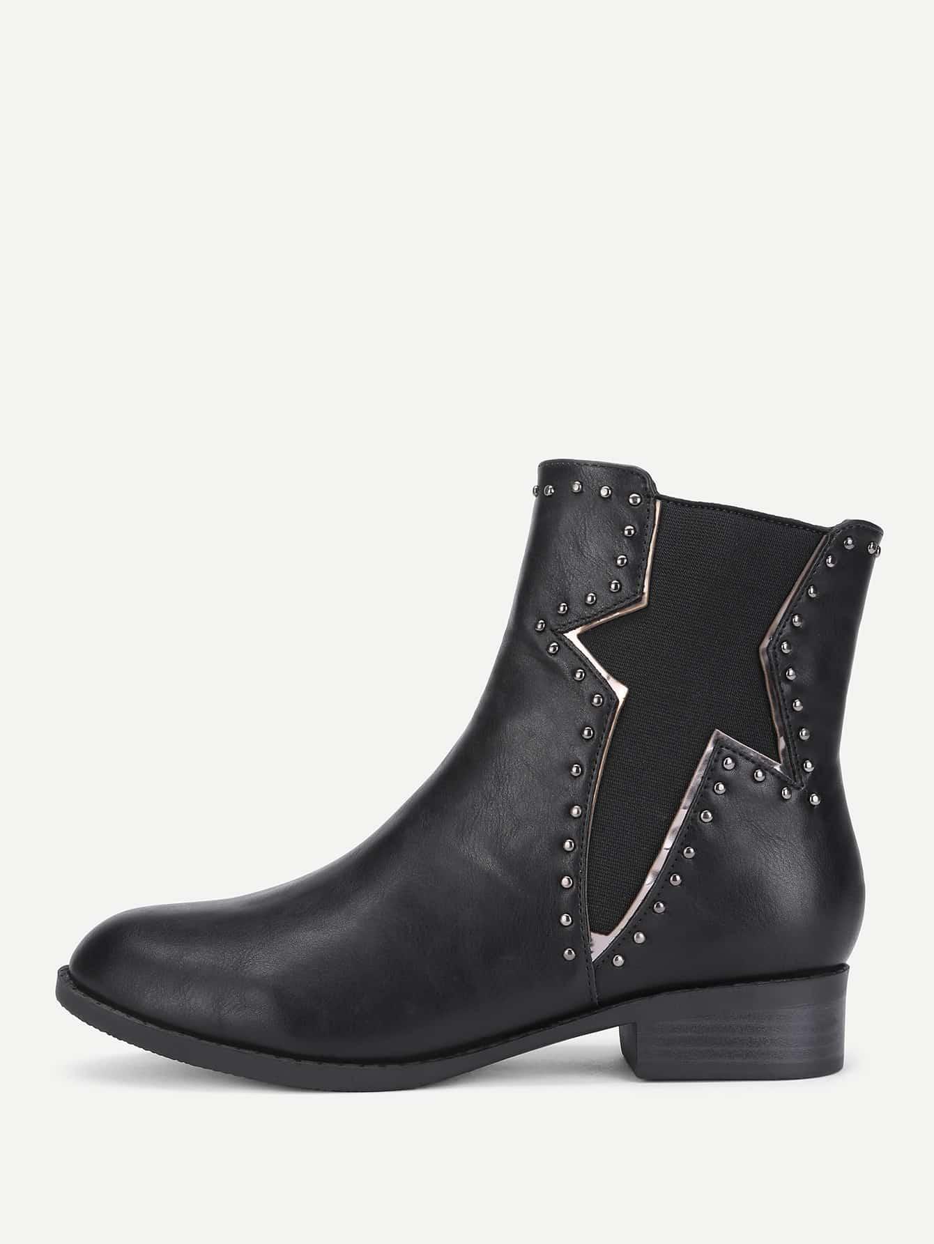 Купить со скидкой Studded Detail Block Heeled Chelsea Boots