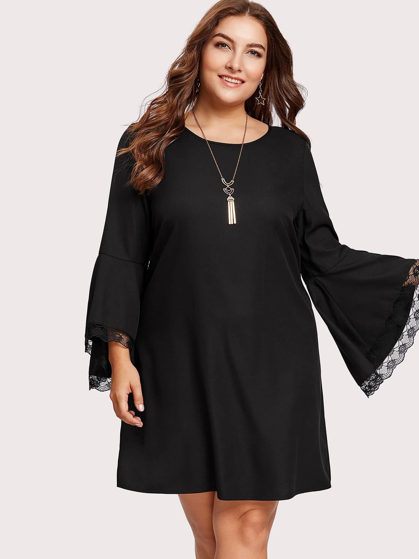 Lace Trim Trumpet Sleeve Dress