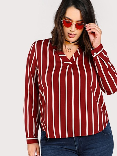 V Neck Dolphin Hem Striped Shirt