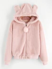Faux Fleece Pom Pom Ear Detail Hoodie Jacket