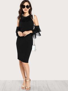 Open Shoulder Fringe Detail Fitted Dress