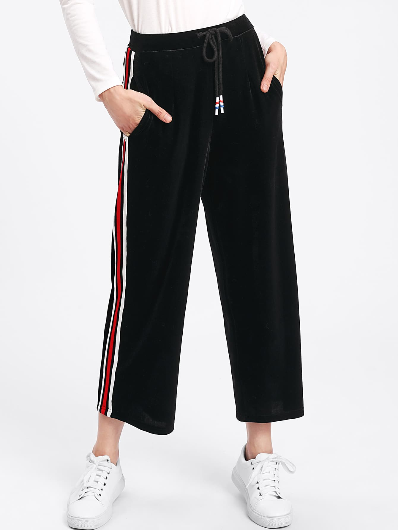 Striped Tape Side Velvet Culotte Pants
